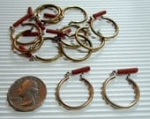 5 Pair Raw Brass Hoop earrings with surgical steel posts