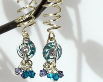 Swarovski and Cane Glass Earrings - Keep Turning