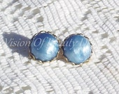 Baby Blue Pearlized Clip On Earrings, Vintage Style