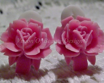Vintage Style Pink Rose Clip On Earrings