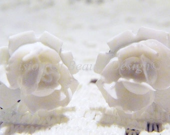 Vintage Style White Rose Clip-On Earrings