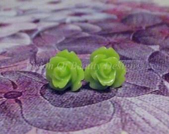 Vintage Style Lime Green Dainty Rose Earrings