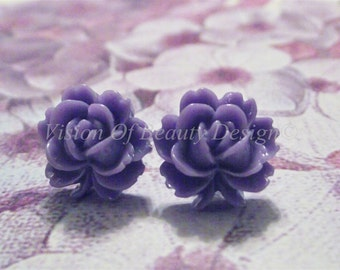 Purple Vintage Style Rose Stud Earrings