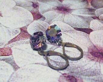 Dainty Light Amethyst AB Purple Earrings