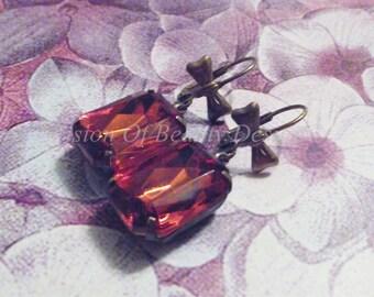 Topaz Vintage Rhinestone Earrings with Bows