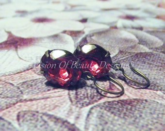 Oriental Ruby Red Vintage Rhinestone Brass Earrings