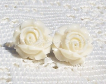 Cream Rose, Spring Flower Clip On Earrings
