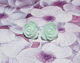 Mint Blooming Rose Stud Earrings