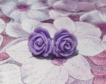 Purple Blooming Rose Stud Earrings