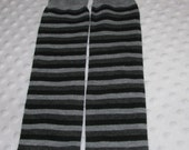Baby Leg Warmers in Small Black and Grey and Light Grey Stripes