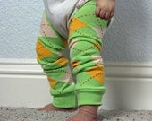 Baby Leg Warmers in Green Yellow and Peach Argyle