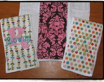Burp Cloth SET OF 3 - You Choose the Fabric...FREE Embroidery