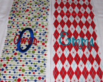 Burp Cloth Set of 2 - You Choose the Fabric...FREE Embroidery