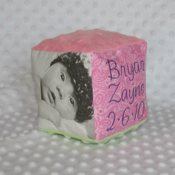 Personalized Keepsake Soft Baby Block with 2 Black and White Photos