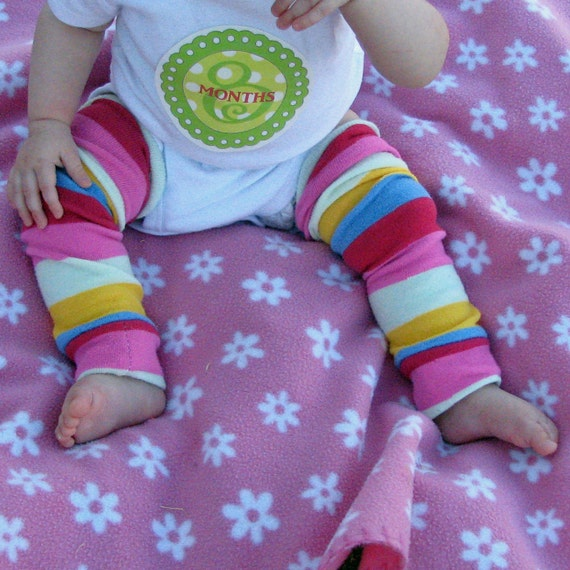 Baby Leg Warmers in Pink Yellow blue and White Stripes