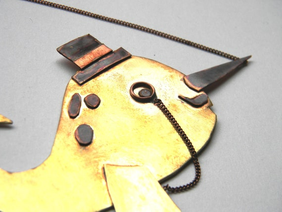 Gentleman Narwhal Hand Forged Bib Necklace