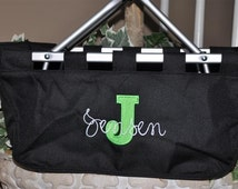 Personalized Collapsible Embroidered Monogrammed  Black Market Tote Picnic Basket with Text upgrade