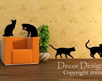 Four Playful Kitty Cats Vinyl Wall Decal Sticker