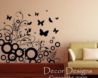 Butterfly Nursery Wall Decal Sticker- wall sticker, vinyl decal, butterflies decals, flower decal, floral wall decals, nursery decal HK21