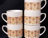 Vintage Set of Five Kun Lun Porcelain Mugs
