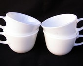 Vintage Set of Four Corning Winter Frost White Cups