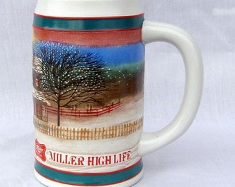 Vintage Miller High Life Winter Holiday Stein