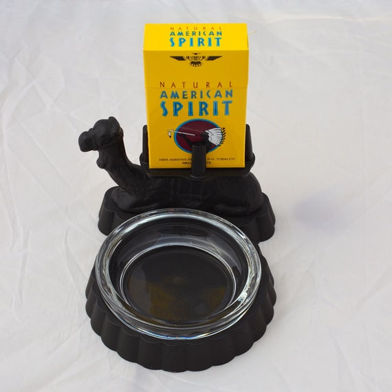 Vintage Camel Iron and Glass Ashtray with Cigarette Pack Holder