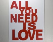 All You Need Is Love 12x18 red