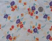 vintage feedsack fabric - sweet bouquets with purple mums