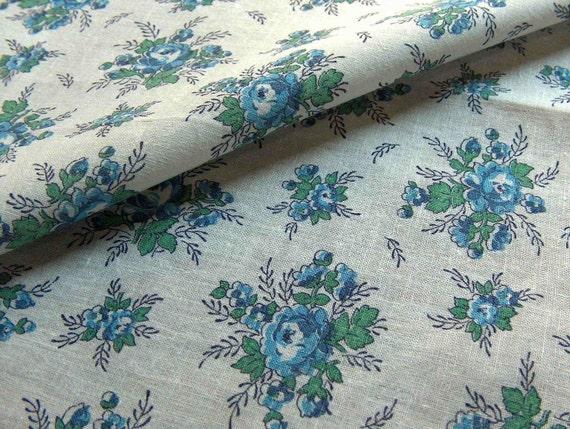 vintage feedsack fabric - blue rose sprays
