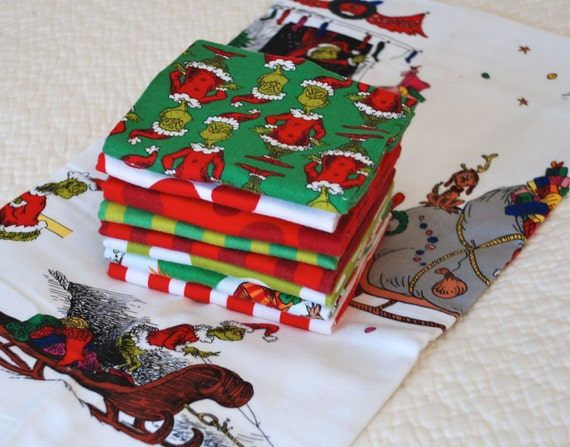 Fat Quarter Bundle, How the Grinch Stole Christmas, FLANNEL