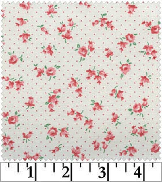 Tiny Dark Pink Rose Dot on White, Old & New Collection 30s, Lecien