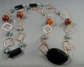 SALE Rosy  Patina  Copper, Aqua Terra,  Necklace.....One of a Kind