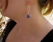 Cobalt Blue Chalcedony and Silver Dangle Earrings