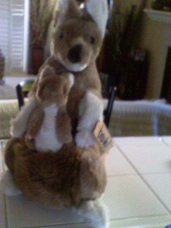 1980s Applause Kangaroo and Baby Joey Stuffed Animals