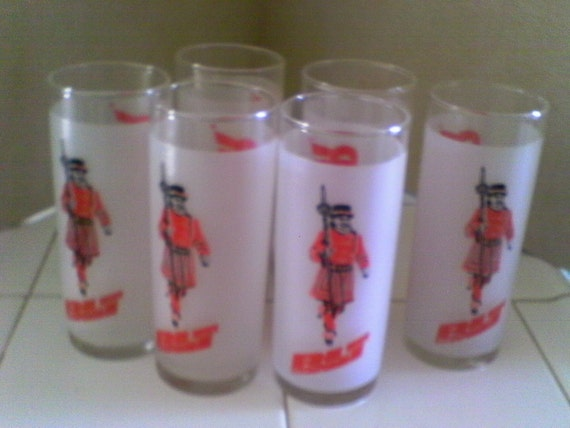 6 Tall Frosted Beefeater Glasses