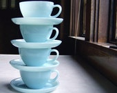 Set of 4 Cups and Saucers, Fire King Turquoise