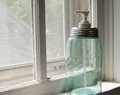 Century Old Mason Jar Soap Dispenser made from a vintage quart Ball jar