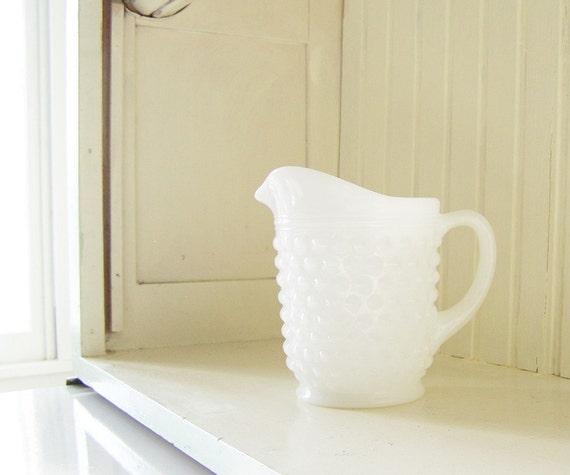 Old Fashioned Milk Pitcher, a hobnail milk glass pint