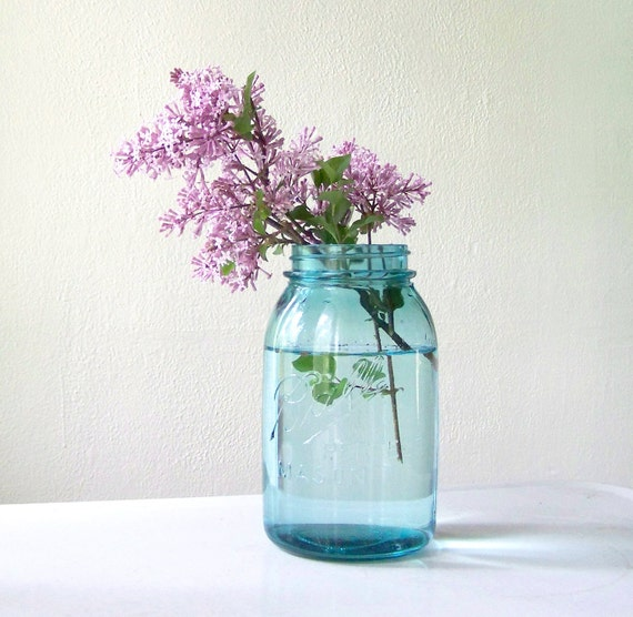 Blue Mason Jars Wedding Ideas: Blue Mason Jar By Ball Quart Size Wedding Decor