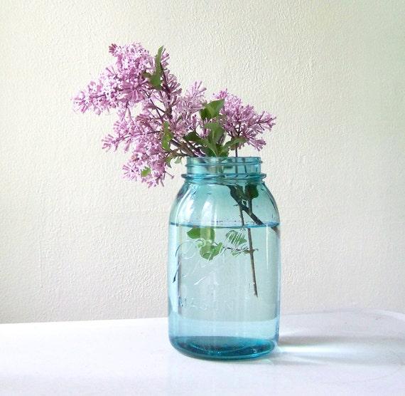 Blue Mason Jar by Ball, quart size, wedding decor