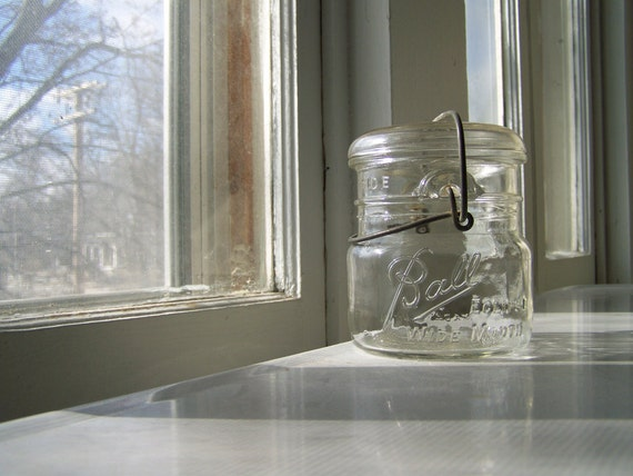 Ball Eclipse jar, Wide Mouth Pint, vintage organization with character