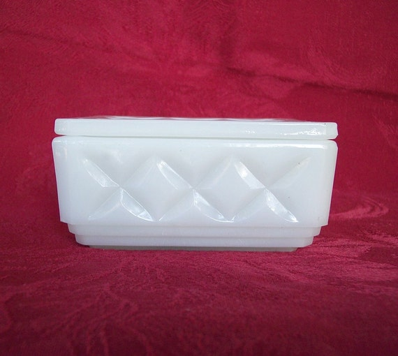 Milk Glass candy dish, cigarette box with a lid