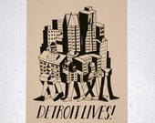 DETROIT LIVES Running the City Poster Print