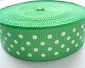 5 yards - 5/8 inch wide Apple Green Grosgrain Ribbon With White Swiss Dots