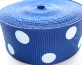 5 yards - 7/8 inch wide Royal Blue Grosgrain Ribbon With White Polka Dots