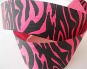 5 yards of Tiger / Zebra Grosgrain Ribbon - Shocking Pink and Black - 1.5 inch wide - Animal Prints