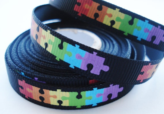 Autism Awareness Colorful Puzzle Pieces on Black Grosgrain Ribbon - 3/8 inch