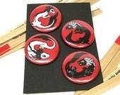 Yin Yang Dragon Pin or Magnets- Set of 4