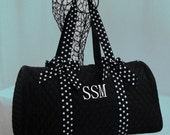 Personalized Duffle Bag Black With Black and White Polka Dot Trim Monogramming Included